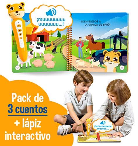 blaBOOK Pack de 3 Libros Interactivos Infantiles para Niños Entre 2 y 5 años + Lápiz Lector   SI Contiene Lápiz Lector
