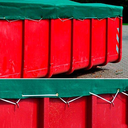 DONET Anhängernetz, Containernetz feinmaschig 2,50 x 4,50 m grün zur Ladungssicherung mit Gummiseil