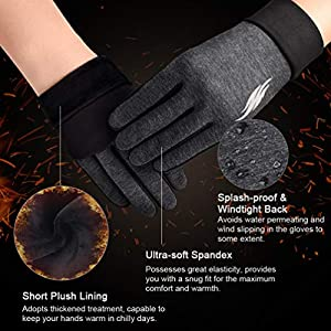 VBIGER Thickened Winter Gloves Warm Touch Screen Gloves Anti-Slip Cycling Gloves (Gris Oscuro, L)