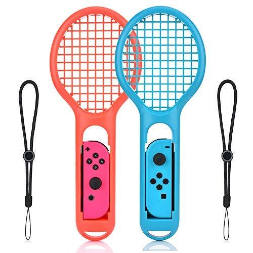 Tennis Rackets für Nintendo Switch, Tennisschläger für Nintendo Switch Joy-Con Controller und Switch Tennisspiel (1x Blue + 1x Red)