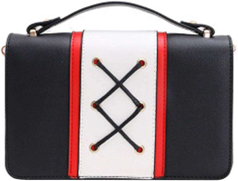 NANIH Home Schnürsenkel Design Frauen Mädchen Kontrast Farbe Handtaschen Halbe Kette Sommer PU Schulter Crossbody Taschen (Farbe   schwarz) B07QRGCH7S  Stilvolle und attraktive Tasche