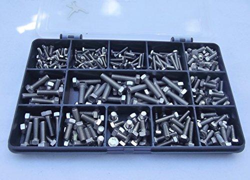 Juego de tornillos de cabeza hexagonal de 270 piezas, M3, M4 y M5, acero inoxidable A2-70.