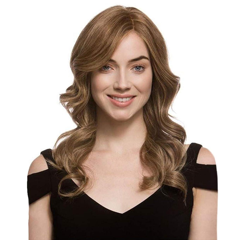 受益者窒息させる横に女性かつら長い波状カーリーローズネットフルウィッグ耐熱合成かつらブラウン65 cm