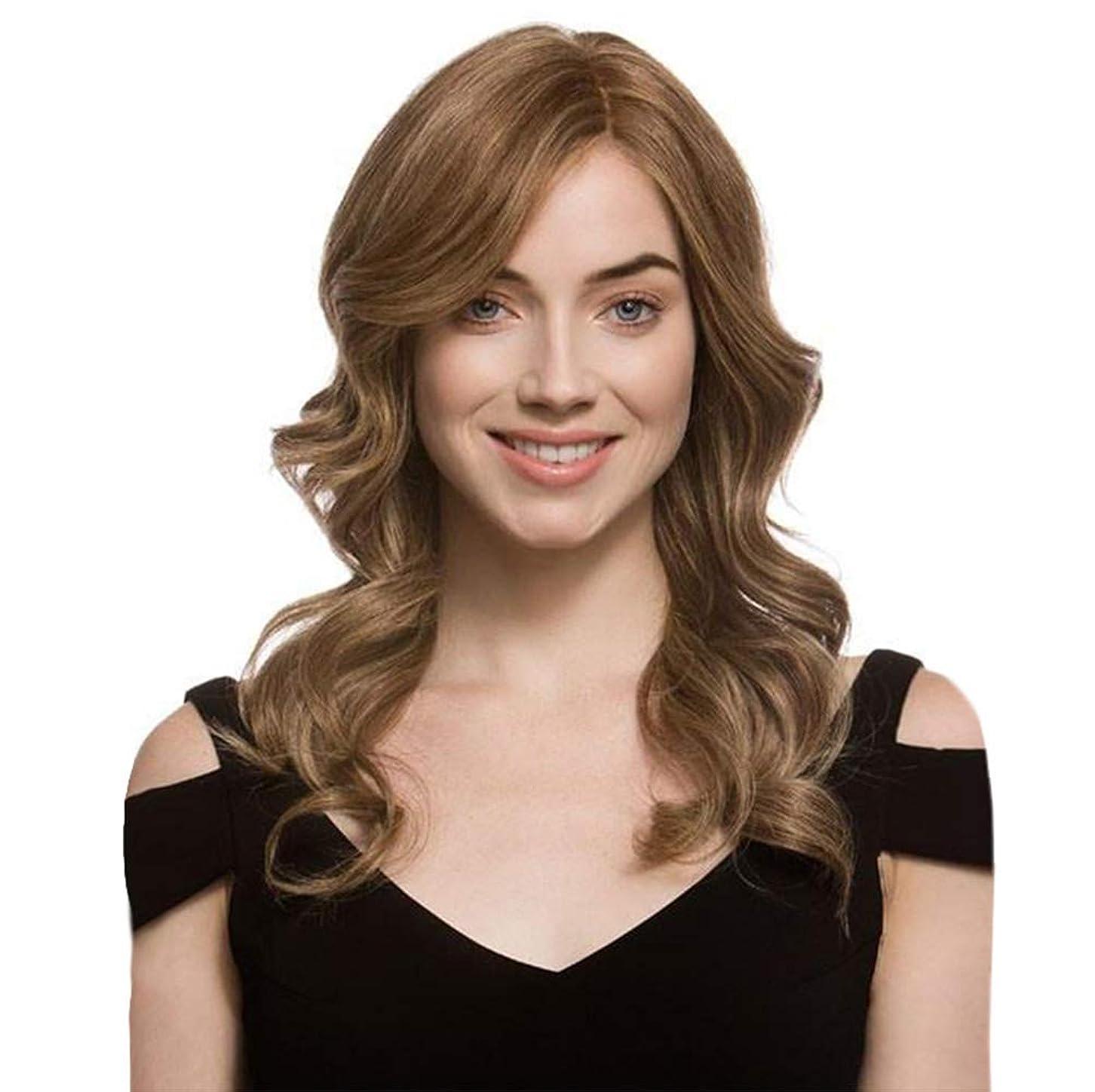 突進バルク動的女性かつら長い波状カーリーローズネットフルウィッグ耐熱合成かつらブラウン65 cm