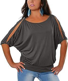 Jescakoo Summer Cold Shoulder Tops for Women Batwing Half Sleeve T Shirts
