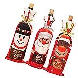 Artibetter 3 Unidades de Bolsas de Regalo de Vino de Navidad Bolsas con Cordón para Santa Claus Fundas de Botellas de Vino para Decoración de Mesa de Cocina de Regalo de Fiesta de Navidad