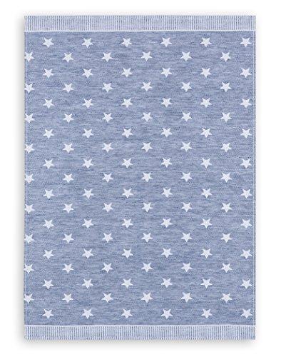 Kracht, Navidad, paño de cocina (tejido jacquard lino, serie estrellas, azul, Edition ziczac de affaires, aprox. 50x 70cm
