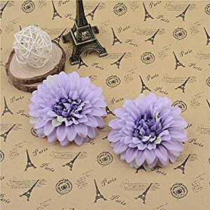 Artificial and Dried Flower 50pcs Silk Artificial Dahlia Corsage Flowers Head for Wedding Car Decoration DIY Simulation Floristry Supplies Flowers – ( Color: Purple )