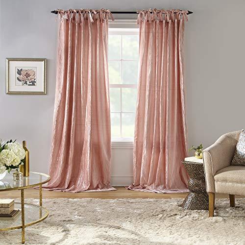 "Elrene Home Fashions Korena Rustic Vogue Tie-Top Crushed Velvet Window Curtain Panel, 52"" x 95"" (1, Blush"