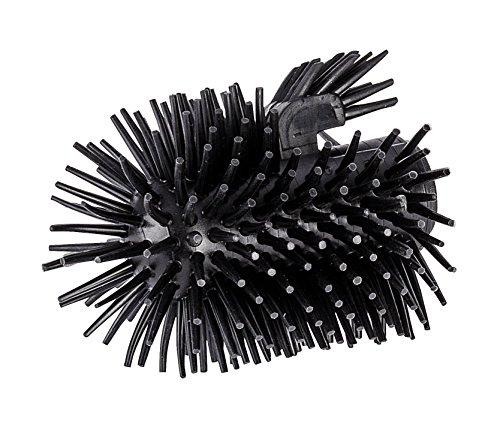 Wenko Ersatzbürstenkopf, mit Randreiniger für WC-Garnituren - Ersatz-Toilettenbürste, Silikon, Ø 7,5 x 9,3 cm, schwarz