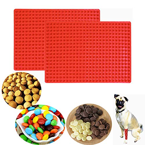 Brainver 468-Cavity Mini Round Silicone Mold, 2pcs Cooking Baking Mat Sheet/Semicircle Snack Cookie Chocolate Drops Gummy Candy Molds for Ganache Jelly Caramels Dog Cat Pet Treats