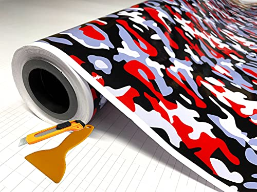 """RED Black White Gray Glossy Camouflage Vinyl Car Wrap Film Sheet + Free Cutter & Squeegee ( Except Sample Size) (40FT x 5FT / 480"""" x 60"""")"""