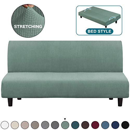 Turquoize Futon Slipcover Spandex Jacquard Sofa Cover High Stretch Sofa Covers/Couch Covers/Lounge Covers, Furniture Protector with Elastic Bottom Sofa Slipcovers (Futon, Dark Cyan)