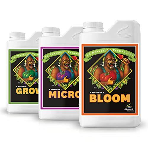 Advanced Nutrients PH Perfect, set di 3 flaconi da 500 ml per kit di base Grow Micro Bloom