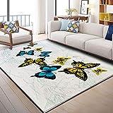 HXJHWB Alfombra Pasillo Cocina Diseño - Interior Delicado patrón de Mariposa Alfombra Sala de Estar niños gateando Accesorios para el hogar 120CMx180CM