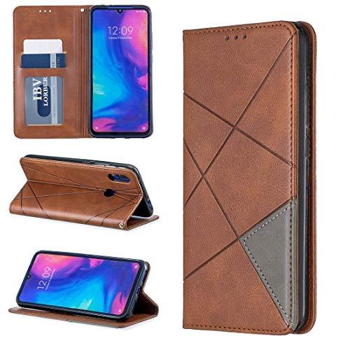 Liluyao Funda telefónica para Xiaomi Rhombus Texture Horizontal Flip Magnetic Funda de Cuero con Soporte y Ranuras for Tarjetas for Xiaomi Redmi Note 7 (Color : Brown)