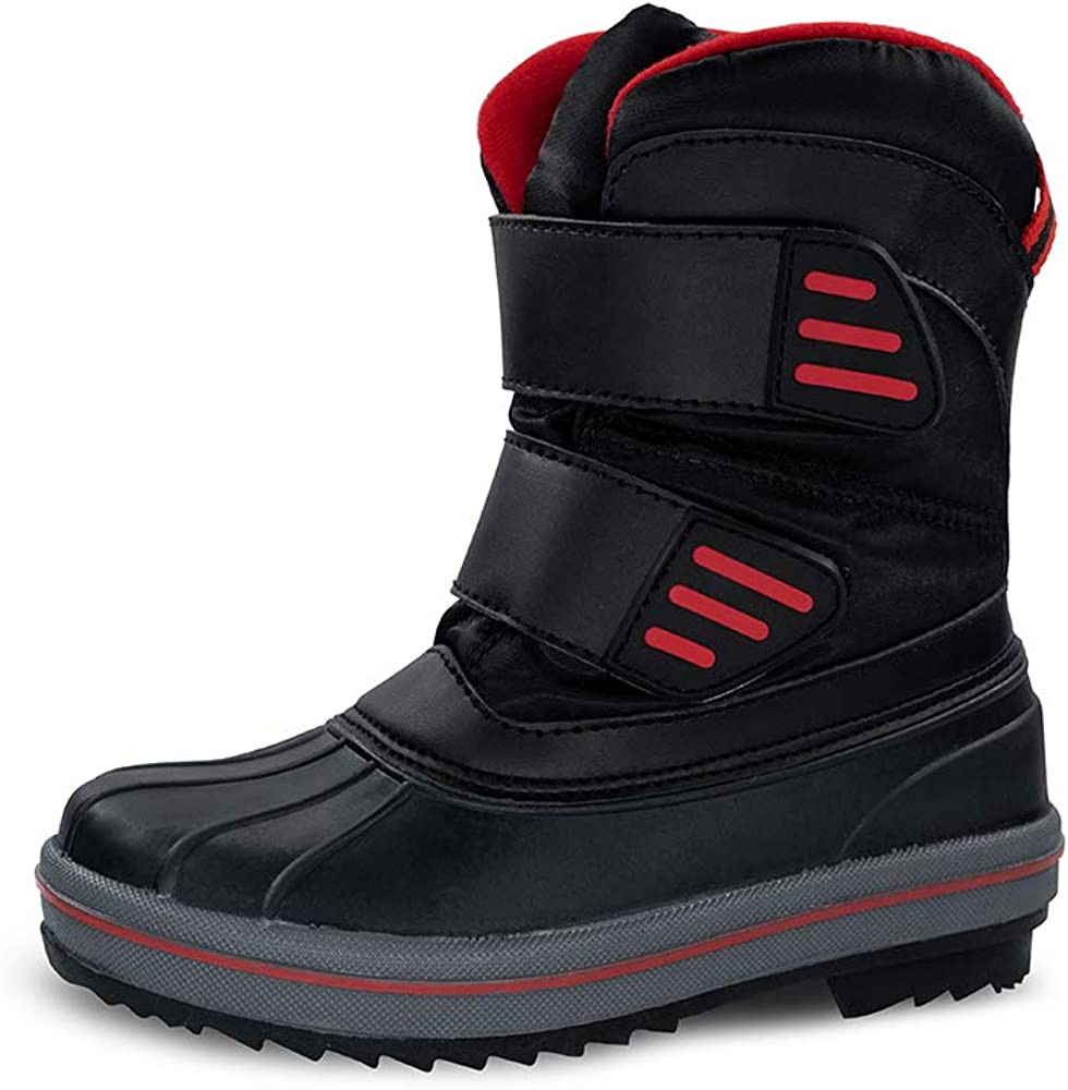 kids waterproof Max 81% OFF warm comfortable winter black Las Vegas Mall snow a youth boots
