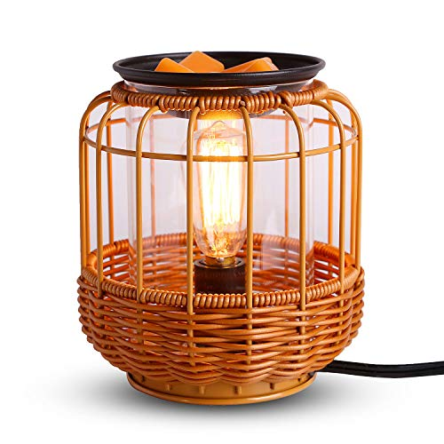 kobodon Edison Style Metal Candle Warmer for Wax Burner Freshener Scented Wax Melter,Candle Wax Warmer for Scented Wax Melts,Wicker scentsy Wax Melter Warmer Oil Lamp.