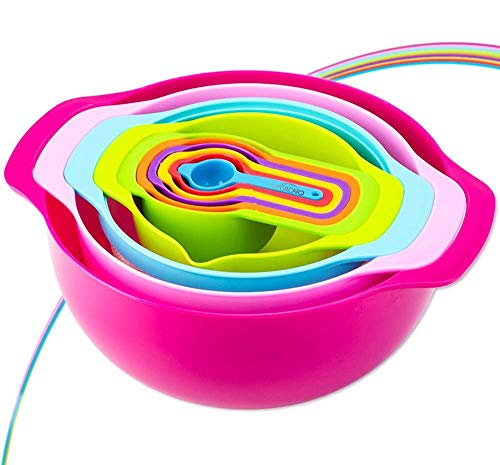 Mixing Bowl Set - Colorful Kitchen Bowls Colander Mesh Strainer Plastic Nesting Bowls - with Easy Pour Spout Colorful Measure Cups and Spoons - for Baking Cooking and More
