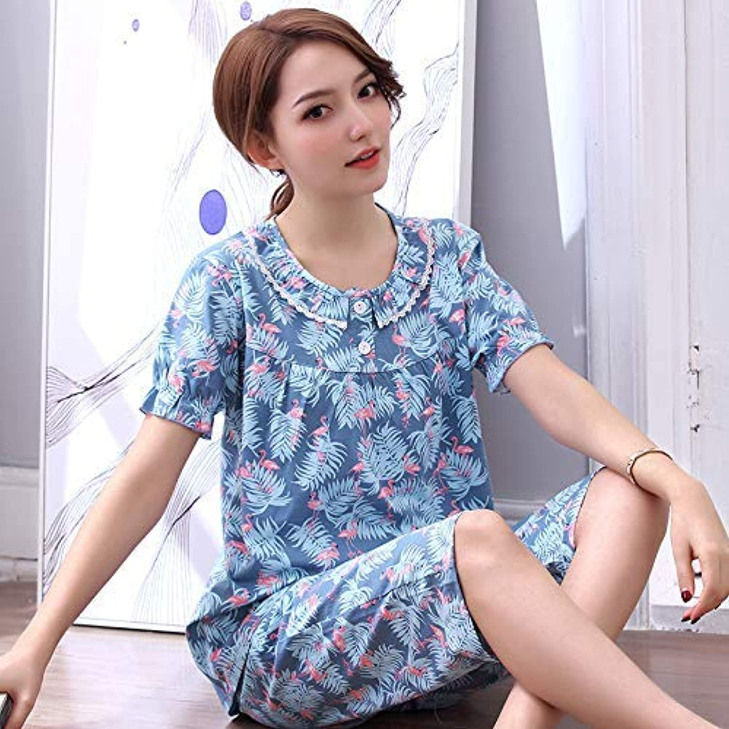 Cute Pajamas Summer Pajamas Women Summer Cotton ShortSleeved Cropped Trousers Ladies Summer Students Cute Korean Casual Home Service Suit (Size   M) Sexy Sleepwear (Size   Medium)