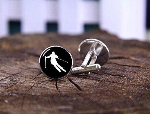 Manschettenknöpfe, Vintage-Ski-Athleten-Design, Glas, für Herren und Damen, handgefertigt, für Freundinnen, Weihnachtsgeschenk