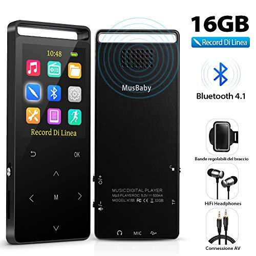 Lettore MP3 Bluetooth 4.2 Portatile 16GB, Regiono con Radio FM/Registratore Vocale, Contapassi con Bracciale Sportivo, Pulsanti di Tocco