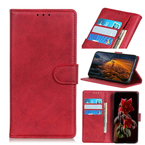 LMFULM® Hülle für VIVO NEX 3S 5G (6,89 Zoll) PU Leder Hülle Magnet Brieftasche Lederhülle Retro Rindsleder Style Stent-Funktion Schutzhülle Flip Cover Rot