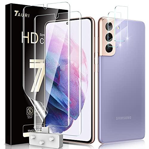 TAURI Schutzfolie Kompatibel Mit Samsung Galaxy S21 & S21 5G 2 Stück S21 Schutzfolie TPU & 2 Stück S21 Kamera Panzerglas Fingerabdruck-ID unterstützen Blasenfreie Klar HD Folie
