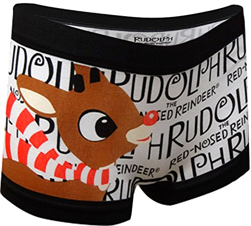 Rudolph The Red-Nosed Reindeer Black and White Boyshort Panty for women (Medium)