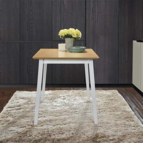 GOLDFAN Esstisch Klein Holz Küchentisch Quadrat Holztisch Wohnzimmertisch aus Holzbeine Natur 70x70x75cm Weiß