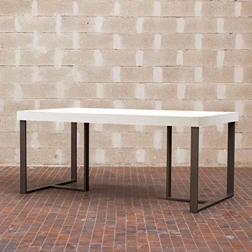Itamoby, Table Apollo 130, Panneaux de nobilitato & Acier, frêne Blanc/Anthracite, L.130 h.75,9 P.90