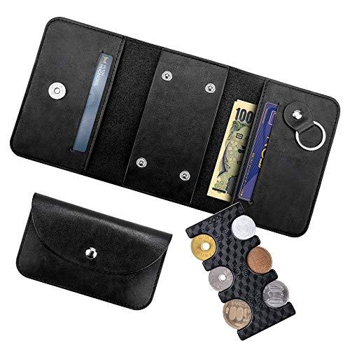携帯用コインホルダー+専用ケース Fohil 財布 三つ折 小銭入れ カードポケット お札ポケット コイン収納 コインを分類できる 軽量 コンパクト ブラック