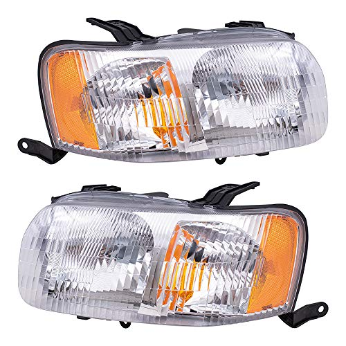 Brock Replacement Driver and Passenger Headlights Headlamps Compatible with 2001-2004 Escape 4L8Z 13008 AB 4L8Z 13008 AA