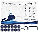 ELLO HOME Baby Monthly Milestone Blanket with 12 Stickers, Large 60'x40' Infant Month Blankets Boy | Newborn Photography Background Blanket Prop | Nautical Whale Blanket, Best for New Mom