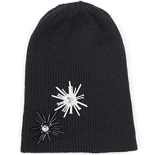 Beanie Hat Adult Cashmere Glitter Rhinestone Beanie Hat With Tassel Sequins Floral Accessories Autumn Winter Warm Cuff Beanies Cap-Black_White_Black