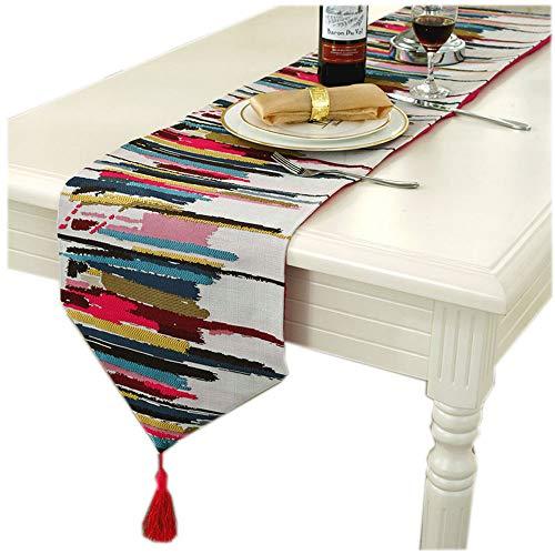 MEI XU Chemins de table - Jacquard coloré européen drapeau de table nappe serviette table basse tissu TV couvercle du cabinet serviette table maison longue bande tissu lit drapeau serviette de lit Déc