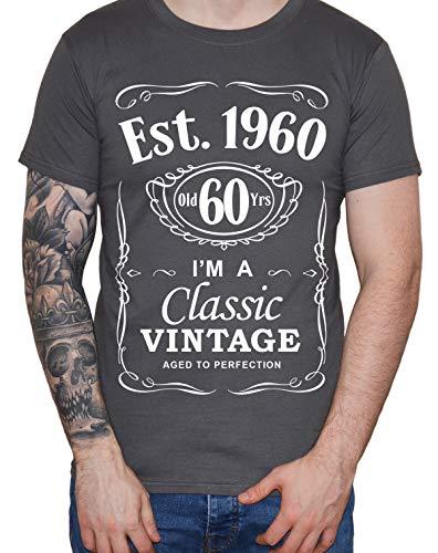 DF 60th Birthday Est. 1959 Vintage Year Homme T-Shirt Gris foncé M