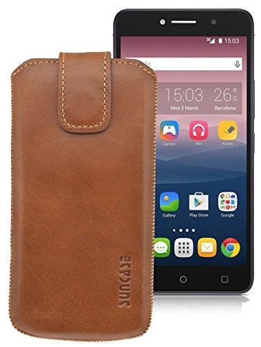 Original Suncase ECHT-LEDER Tasche Etui für | Alcatel One Touch Pixi 4 (8050D) Dual-SIM (6 Zoll) | (mit Rückzugsfunktion, Magnetverschluss) Cover Hülle Schutz cognac