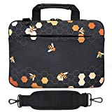 Holilife 14-15.6 Inch Laptop Shoulder Bag, Protective Notebook Messenger Briefcase Compatible with MacBook Air MacBook Pro Ultrabook Chromebook, Bee