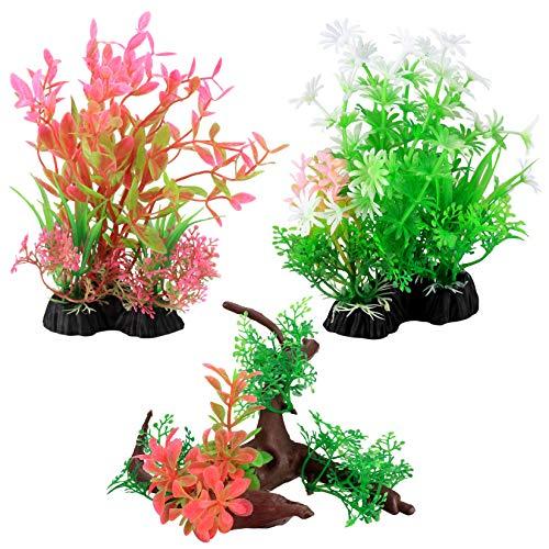 3 Pcs Aquarium Artificial Plants, Plastic Aquatic Plants Decorations, Fish Tank Simulation Plant Ornament, Non-Toxic Aquarium Landscape Decoration