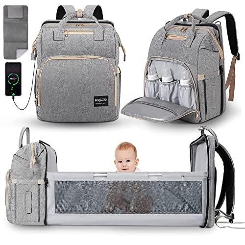JUNSTAR Baby Wickelrucksack Wickeltasche mit Wickelauflage, Babytasche Große Kapazität Baby Reisetasche mit 1 hautfreundlichen Wickelunterlagen für Neugeborene, USB-Anschluss , GRAU