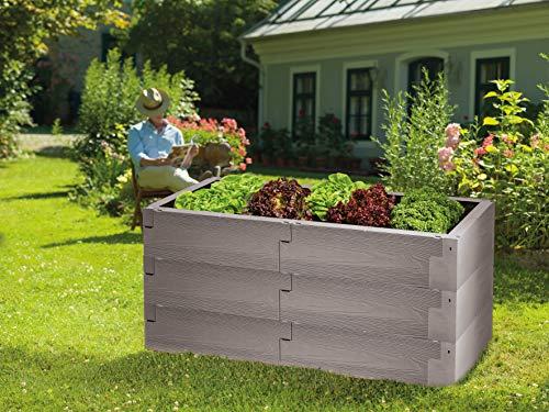 JUWEL Lot de 3 Plates-Bandes surélevées Timber (Construction Variable, 100 % Recyclable, Plate-Bande de Jardin en Plastique) 20821, Gris