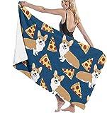 Toalla De Playa, Corgi Pizza, Manta De Playa De Gran Tamaño Azul Marino para Adultos Y Niños, Súper Suave Y Absorbente Rápido