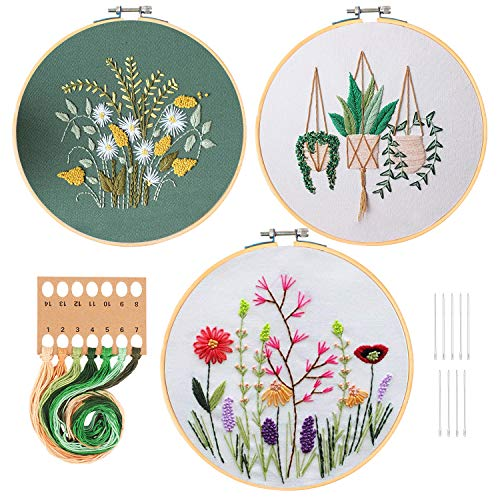 HaiMay 3 Sets Embroidery Starter Kit with Pattern and Instructions, Cross Stitch Kit Include 3 Embroidery Clothes with Floral Pattern, 3 Bamboo Embroidery Hoops, Color Threads and Tools
