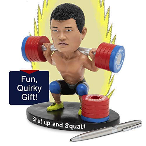 Crossfit Bobbleheads Figures Pen Holder For Desk & Paper Weight Pencil Holder – Weird Stuff Bobble head - Gym Rat Weightlifting Christmas Gift Desk Toy For Men Funny Gifts for Dad Who Has Everything