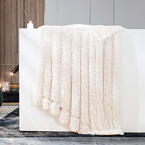 GONAAP Faux Fur Throw Blanket Decorative Super Soft Fuzzy Shaggy Luxurious Cozy Plush Fluffy Long Hair Comfy Microfiber Fleece Reversible for Coach Bed Chair Sofa White 60''80''