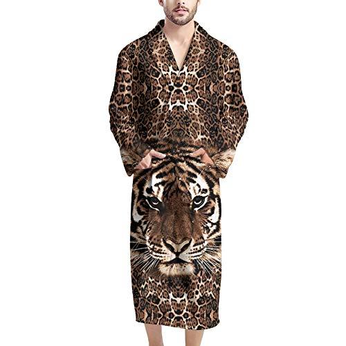 UOIMAG Herren Bademantel mit Tasche Weicher Bademantel Morgenmantel Nachtwäsche Geschenk für Männer Gr. Einheitsgröße, tiger