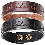 2 x bracelet en cuir de mode bracelet noir et brun couple bracelets pour cadeau...