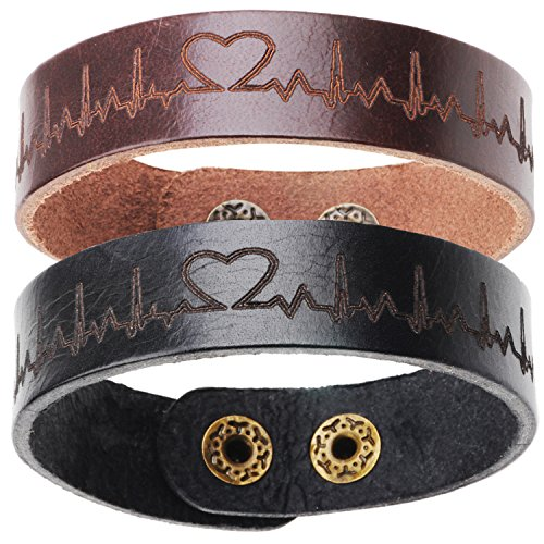 ChicJ&Y 2 x Pulsera de latón de Cuero de Moda Pulseras de par Negro y marrón para los Amantes del Regalo de cumpleaños