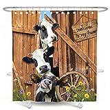 DESIHOM Duschvorhang mit Bauernhof-Kuh-Motiv, rustikaler Holzduschvorhang, Landhaus-Duschvorhang, Polyester, 183 x 198 cm